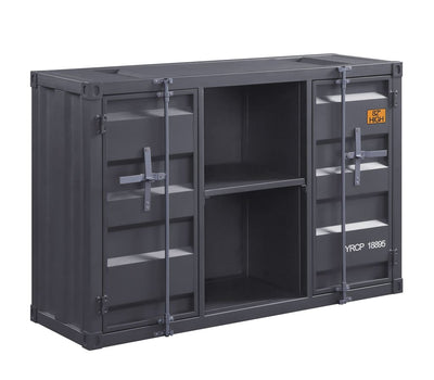 Industrial Metal Server with 2 Door Cabinet and 2 Open Shelves, Gray - BM204491 By Casagear Home
