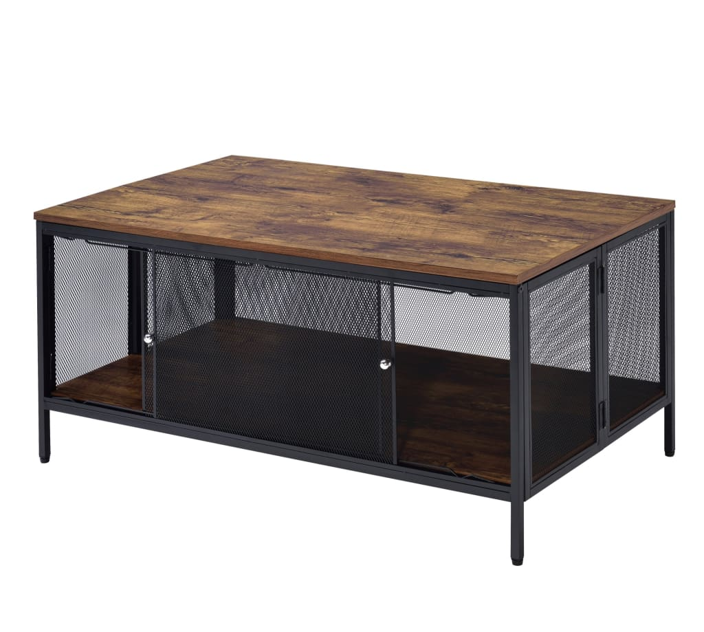 Metal Coffee Table with 1 Bottom Shelf and Mesh Design, Brown and Gray - BM204492 By Casagear Home