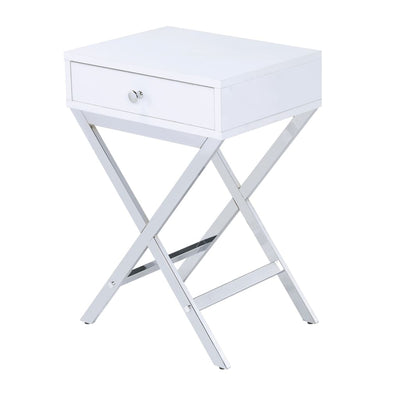 Wood and Metal Side Table with Crossed Base, White and Silver - BM204493 By Casagear Home