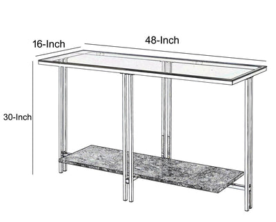 Glass Top Metal Sofa Table with Marble Bottom shelf Silver and Clear - BM204499 By Casagear Home BM204499