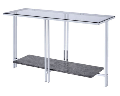 Glass Top Metal Sofa Table with Marble Bottom shelf, Silver and Clear - BM204499 By Casagear Home