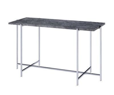 Contemporary Marble Top Sofa Table with Trestle Base , Gray and Silver - BM204502 By Casagear Home