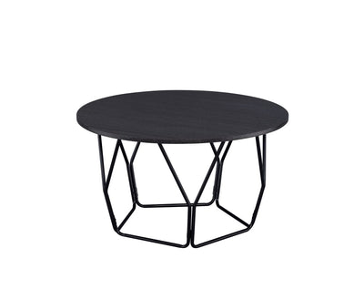 Industrial Round Top Wooden Coffee Table with Geometric Base, Black - BM204505 By Casagear Home