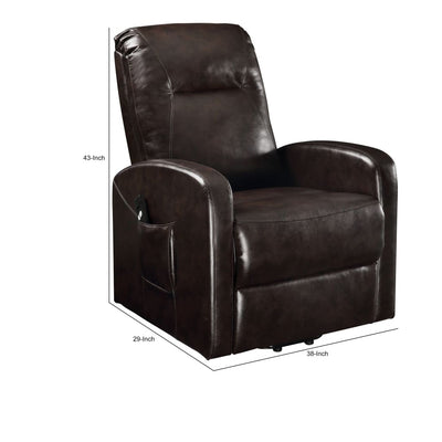 Faux Leather Upholstered Wooden Recliner with Power Lift Brown - BM204521 By Casagear Home BM204521