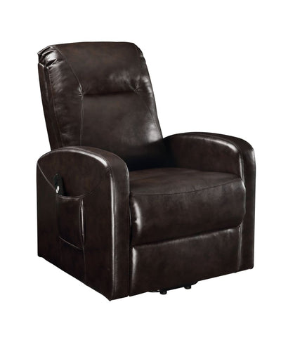 Faux Leather Upholstered Wooden Recliner with Power Lift, Brown - BM204521 By Casagear Home