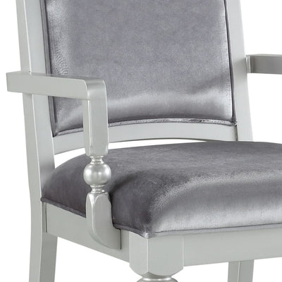 Crystal Inlaid Fabric Upholstered Wooden Arm Chair Set of 2 Silver - BM204531 By Casagear Home BM204531