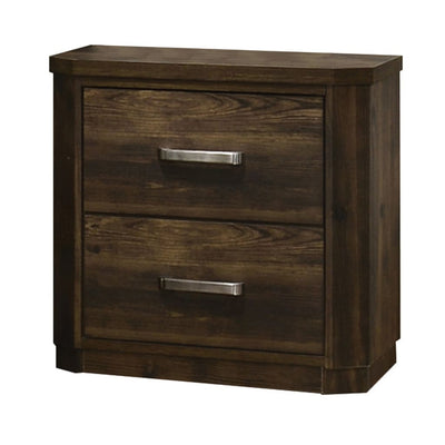 Transitional Style 2 Drawer Wooden Nightstand with Plinth Base, Brown - BM204557 By Casagear Home