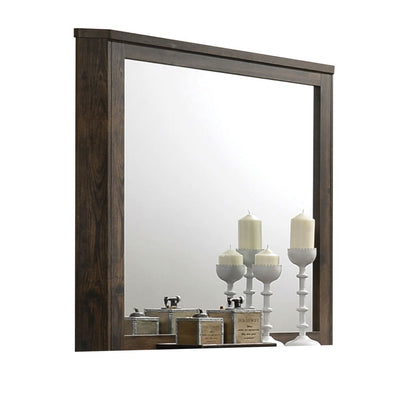 Transitional Style Wooden Decorative Mirror with Grooved Panels, Brown - BM204558 By Casagear Home