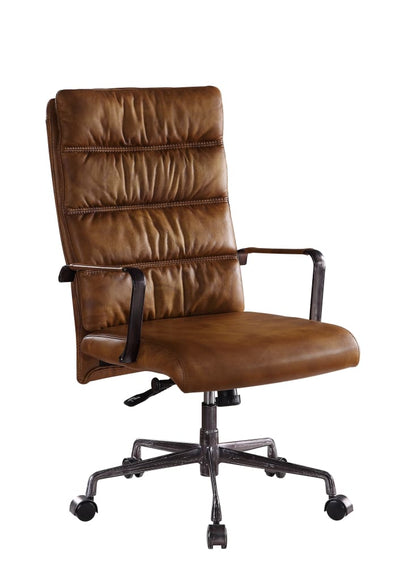 Faux Leather Upholstered Wooden Office Chair with 5 Star Base Brown - BM204583 By Casagear Home BM204583