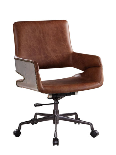 Faux Leather Upholstered Wooden Office Chair with Lift Mechanism Brown - BM204584 By Casagear Home BM204584