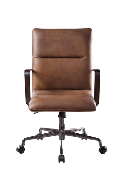 5 Star Base Faux Leather Upholstered Wooden Office Chair , Brown - BM204585 By Casagear Home