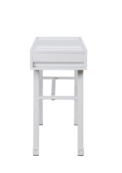 Industrial Style Metal and Wood 1 Drawer Vanity Desk White - BM204608 By Casagear Home BM204608