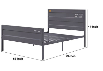 Industrial Style Metal Full Size Bed with Straight Leg Support Gray - BM204613 By Casagear Home BM204613