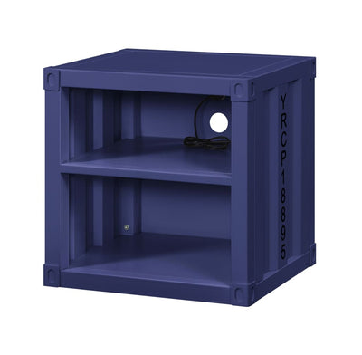 Metal Nightstand with 2 Open Compartment and USB Port, Blue - BM204622 By Casagear Home