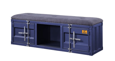 Industrial Metal and Fabric Bench with Open Storage, Blue and Gray - BM204627 By Casagear Home