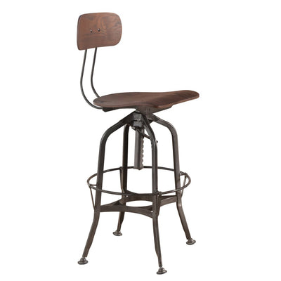 Metal Frame Bar Stool with Corkscrew Swivel Mechanism, Gray and Brown - BM204635 By Casagear Home