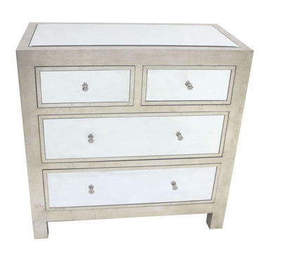 Wooden Cabinet with Mirror Accented Top with Four Drawers, Silver - BM204710 By Casagear Home