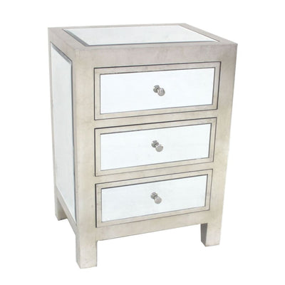 Contemporary Style Wooden End Table with Three Drawers Silver - BM204712 By Casagear Home BM204712