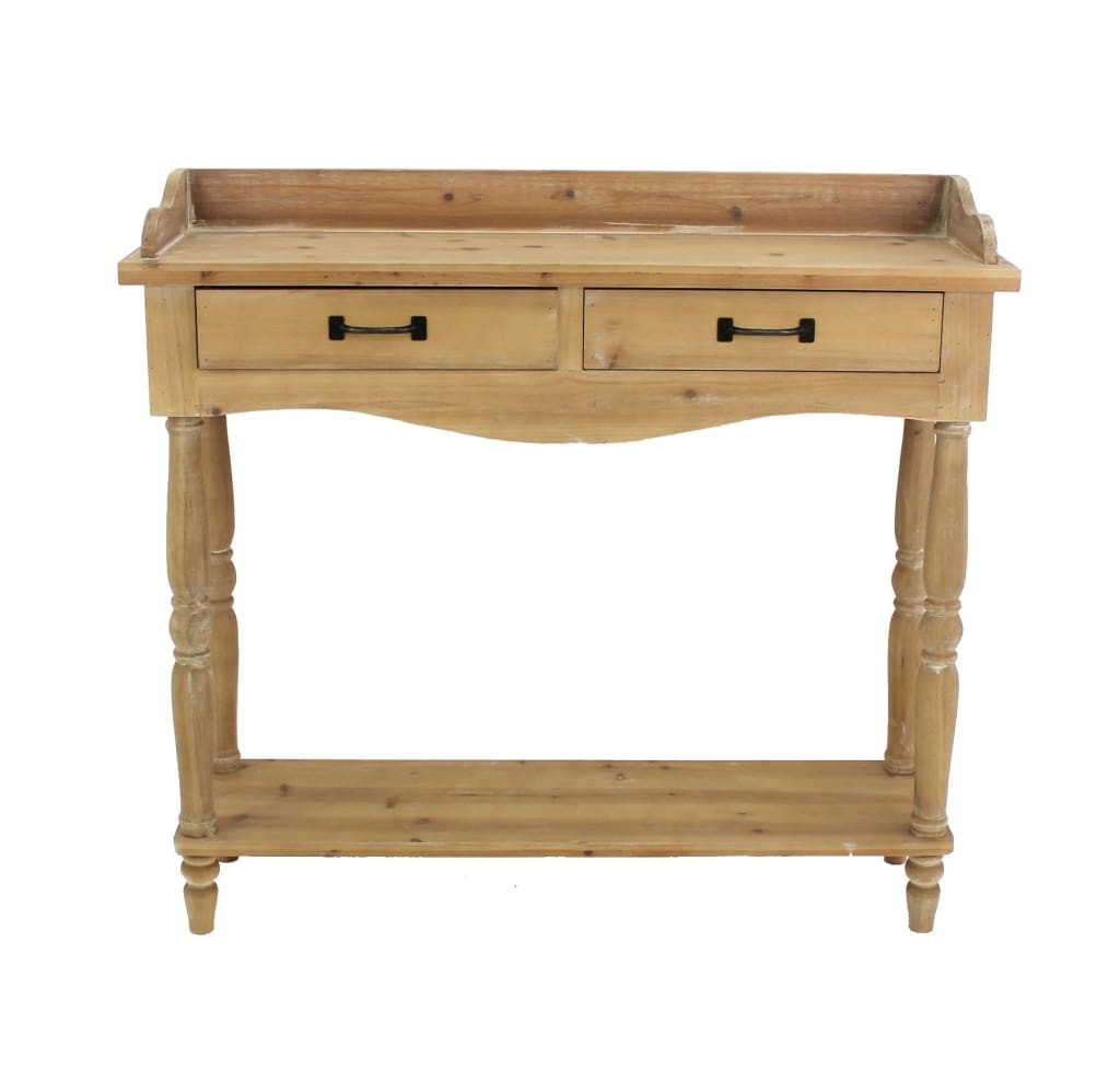 Rustic Style Wooden Dressing Table with 2 Drawers and Shelf, Brown - BM204715 By Casagear Home