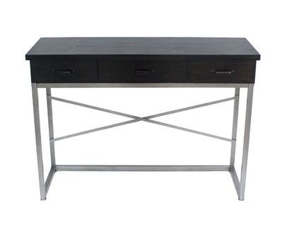 Wooden Console Table with Metal Base and 3 Drawers Brown and Silver - BM204723 By Casagear Home BM204723