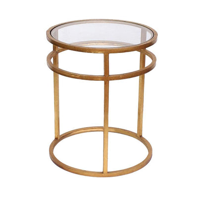 Metal Coffee Table with Mirror Accented Circular Top Gold and Clear - BM204729 By Casagear Home BM204729