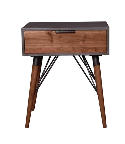 Wooden Side Table with Single Drawer and Angled Legs, Gray and Brown - BM204735 By Casagear Home