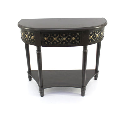 Wooden Console Table with 1 Bottom Shelf and Arched Details, Black - BM204761 By Casagear Home