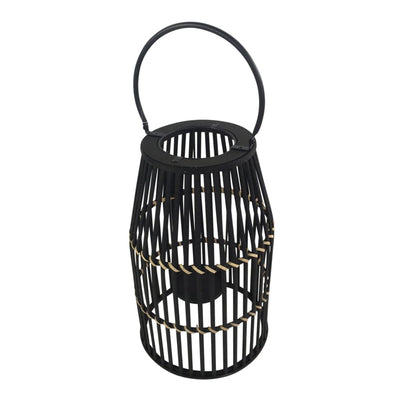 Decorative Drum Shaped Open Cage Bamboo Lantern Large Black - BM205185 By Casagear Home BM205185