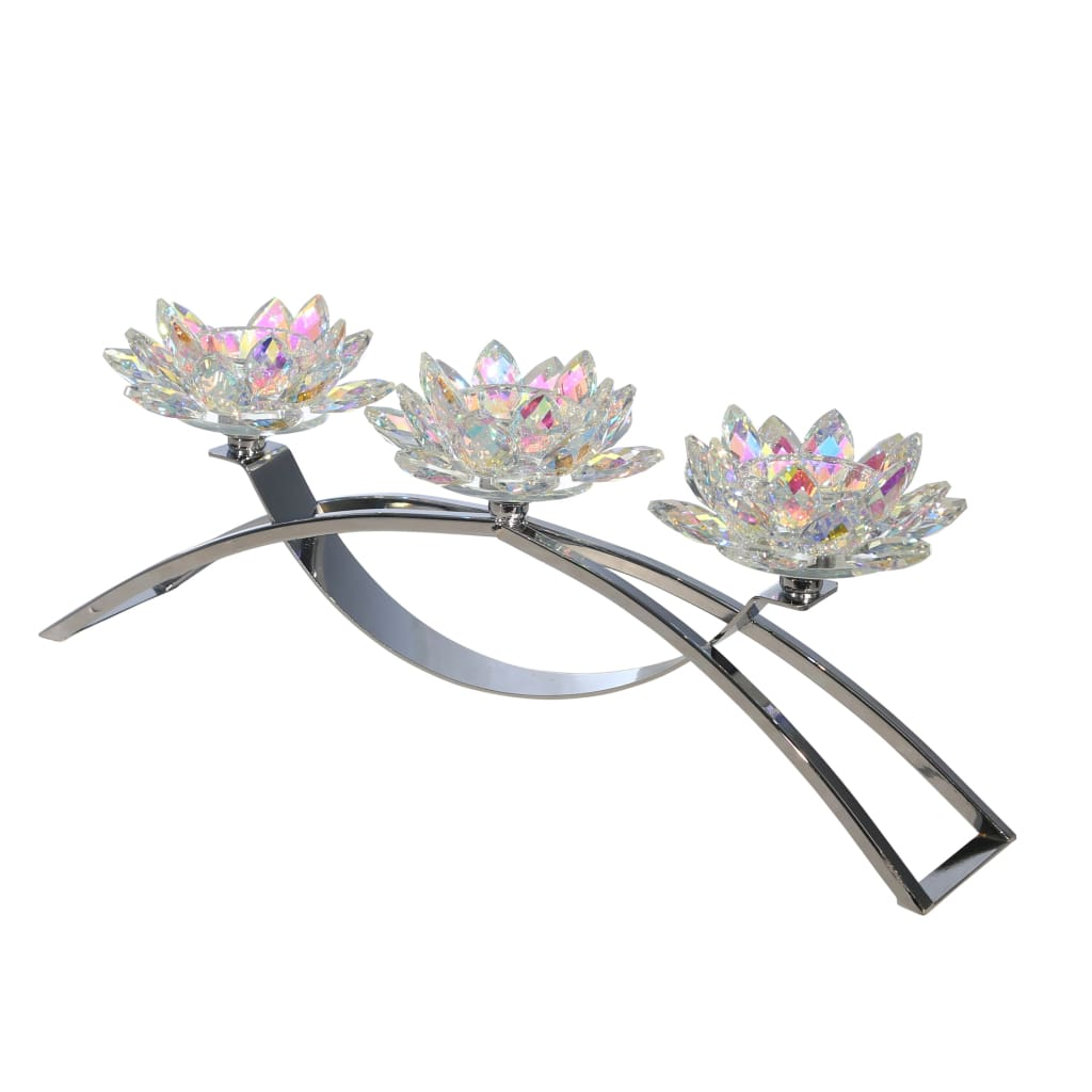 Contemporary Lotus Shaped Glass Candle Holder with C Shape Base,Silver - BM205212 By Casagear Home