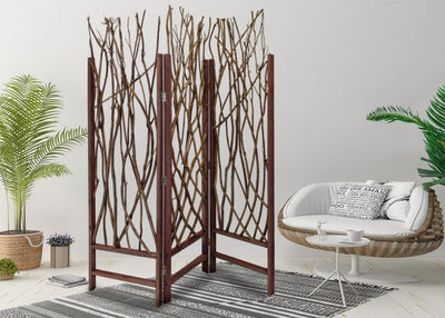 3 Panel Contemporary Foldable Wood Screen with Tree Branches Brown - BM205387 By Casagear Home BM205387