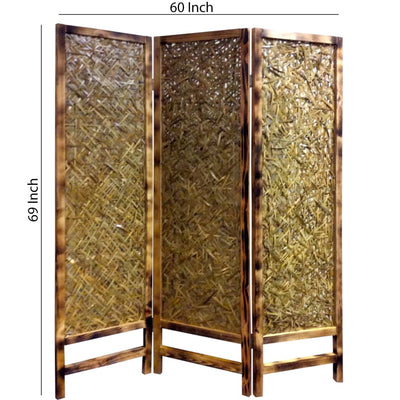 3 Panel Traditional Foldable Screen with Entwine Bamboo Design Brown - BM205390 By Casagear Home BM205390
