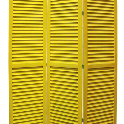 3 Panel Foldable Wooden Shutter Screen with Straight Legs Yellow - BM205397 By Casagear Home BM205397