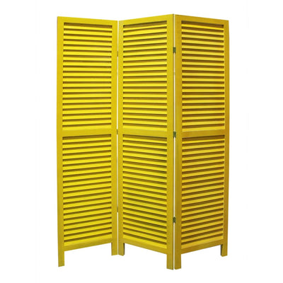 3 Panel Foldable Wooden Shutter Screen with Straight Legs, Yellow - BM205397 By Casagear Home