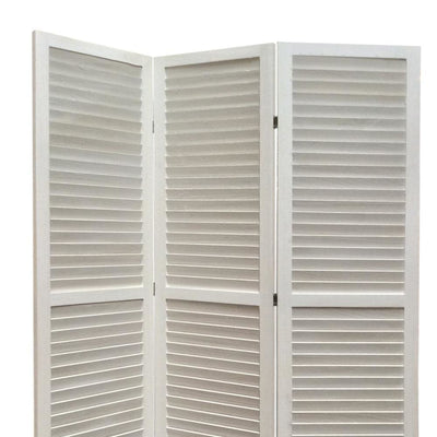 3 Panel Foldable Wooden Shutter Screen with Straight Legs White - BM205398 By Casagear Home BM205398