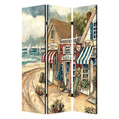 Foldable 3 Panel Canvas Screen with Seaside Town Print, Multicolor - BM205404 By Casagear Home