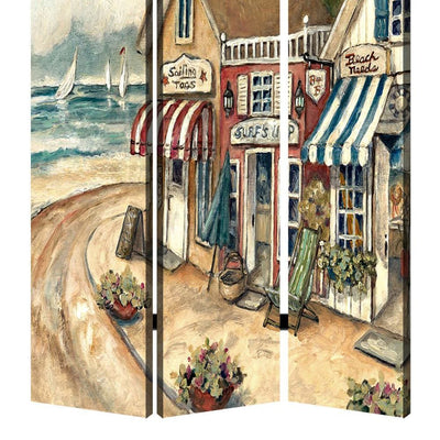 Foldable 3 Panel Canvas Screen with Seaside Town Print Multicolor - BM205404 By Casagear Home BM205404