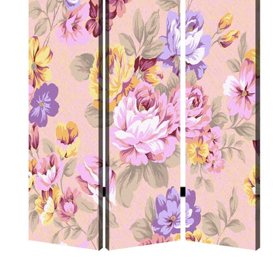 Foldable 3 Panel Canvas Screen with Floral Print Multicolor - BM205406 By Casagear Home BM205406