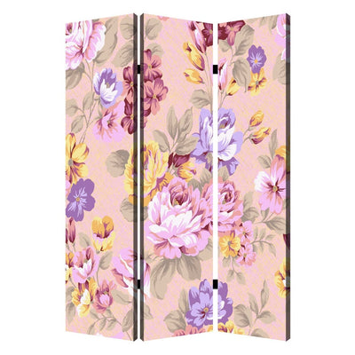 Foldable 3 Panel Canvas Screen with Floral Print, Multicolor - BM205406 By Casagear Home