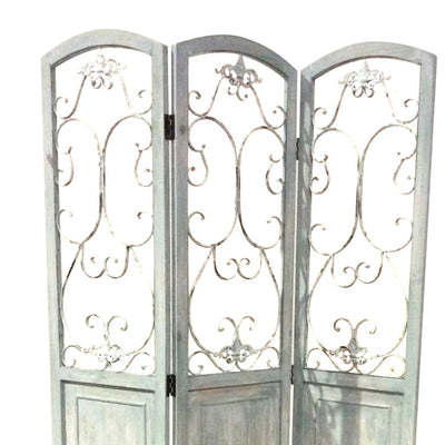Wooden 3 Panel Foldable Screen with Metal Scrollwork Details Blue - BM205408 By Casagear Home BM205408