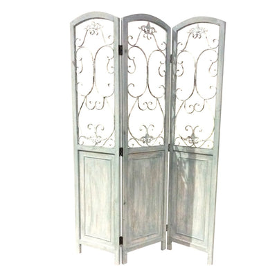Wooden 3 Panel Foldable Screen with Metal Scrollwork Details, Blue - BM205408 By Casagear Home