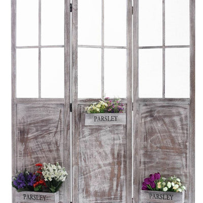 3 Panel Foldable Wooden Screen with Garden Design Brown - BM205413 By Casagear Home BM205413