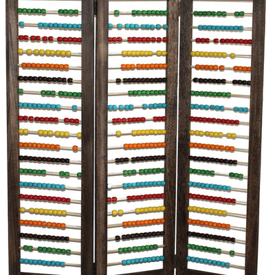 Abacus Design Foldable Wooden Screen with 3 Panels Multicolor - BM205414 By Casagear Home BM205414