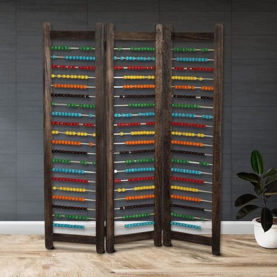 Abacus Design Foldable Wooden Screen with 3 Panels, Multicolor - BM205414 By Casagear Home