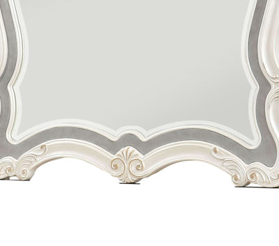 Traditional Mirror with Wooden Scrollwork Crown White and Silver - BM205579 By Casagear Home BM205579