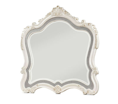 Traditional Mirror with Wooden Scrollwork Crown, White and Silver - BM205579 By Casagear Home