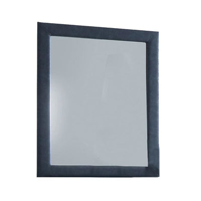 Fabric Upholstery Wooden Frame Mirror with Welt Trims, Blue - BM205583 By Casagear Home