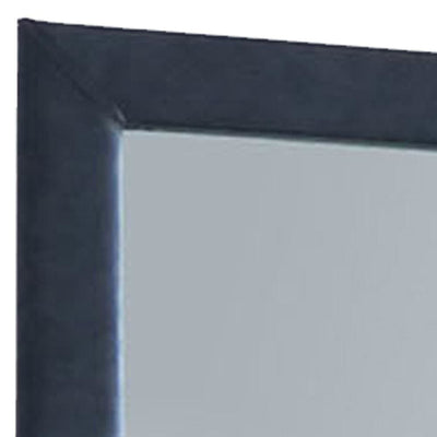 Fabric Upholstery Wooden Frame Mirror with Welt Trims Blue - BM205583 By Casagear Home BM205583