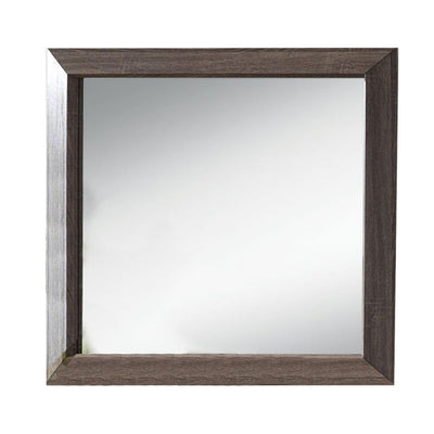 Wooden Clean Lines Framed Mirror with Rectangular Shape,Weathered Gray - BM205589 By Casagear Home