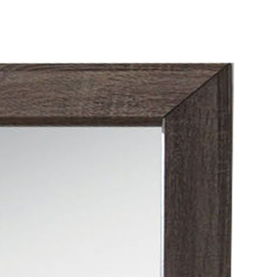 Wooden Clean Lines Framed Mirror with Rectangular Shape Weathered Gray - BM205589 By Casagear Home BM205589
