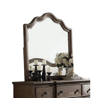 Wooden Rectangular Shape Mirror with Scalloped Top, Brown and Silver - BM205591 By Casagear Home